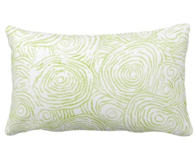 "OUTDOOR -READY 2 SHIP Watercolor Faux Bois Throw Pillow Cover, Wasabi 14 x 20"" Lumbar Pillows/Covers, Light Green Painted Modern/Geo Print"