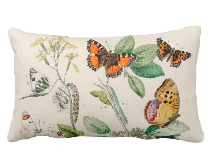 """OUTDOOR Vintage Butterflies Throw Pillow or Cover 14 x 20"""" Lumbar Pillows/Covers Colorful Yellow/Orange/Green Butterfly Floral Print/Pattern"""