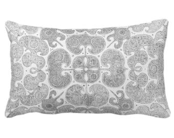 "OUTDOOR Batik Print Throw Pillow or Cover, Light Gray 14 x 20"" Lumbar Pillows/Covers Pewter/Grey Floral/Geo/Boho/Tribal/Hmong/Pattern/Design"