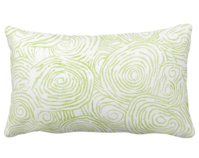 "Watercolor Fois Bois Throw Pillow or Cover, Wasabi 14 x 20"" Lumbar Pillows or Covers, Light Green Painted Modern/Swirl/Geo/Lines Print"