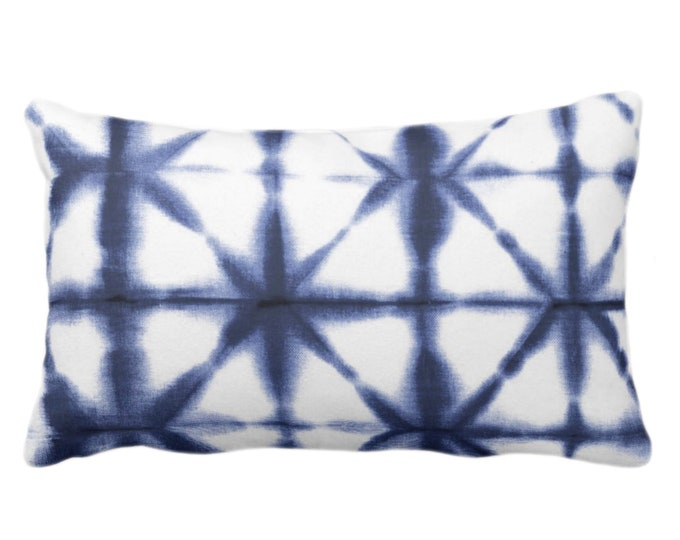 "OUTDOOR Starburst Geo Print Throw Pillow or Cover, Deep Indigo/White 14 x 20"" Lumbar Pillows/Covers, Geometric/Modern/Geo/Lines, Dark Blue"
