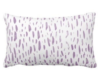 """OUTDOOR Hand-Painted Dashes Throw Pillow or Cover, Lavender/White 14 x 20"""" Lumbar Pillows or Covers Modern Light Purple Dots/Dash Print"""