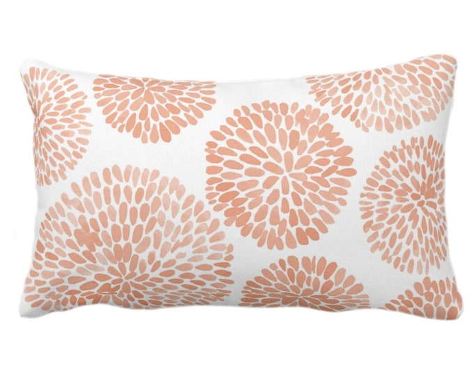"""Watercolor Chrysanthemum Throw Pillow/Cover, Apricot/White 14 x 20"""" Lumbar Pillows/Covers, Orange/Coral Abstract/Modern/Floral/Flower Print"""
