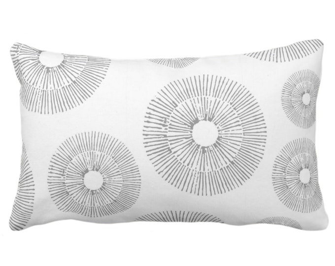 """OUTDOOR Abstract Urchins Print Throw Pillow or Cover, Gray/White 14 x 20"""" Lumbar Pillows/Covers, Light Grey Geometric/Geo/Starburst/Sea"""