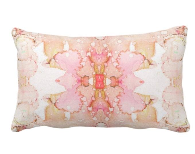 "OUTDOOR Mirrored Watercolor Throw Pillow/Cover 14 x 20"" Lumbar Pillows/Covers Abstract Modern/Minimal Light Purple/Gray/Aqua Print/Design"