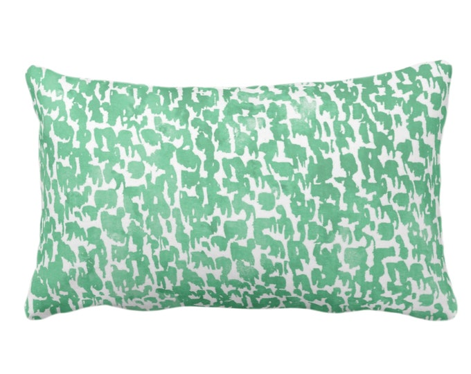 """OUTDOOR Aloe Speckled Print Throw Pillow or Cover 14 x 20"""" Lumbar Pillows or Covers Mint Green Abstract/Marbled/Spots/Dots/Painted/Dashes"""