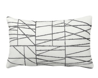 """Charcoal Broken Geo Print Throw Pillow or Cover 14 x 20"""" Lumbar/Oblong Pillows or Covers, Dark Gray/Grey Painted Geometric/Abstract/Lines"""