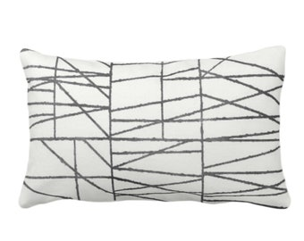 """OUTDOOR Charcoal Geo Print Throw Pillow or Cover 14 x 20"""" Lumbar/Oblong Pillows/Covers, Dark Gray/Grey Painted Geometric/Abstract/Lines"""