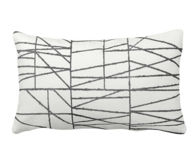 "OUTDOOR Charcoal Geo Print Throw Pillow or Cover 14 x 20"" Lumbar/Oblong Pillows/Covers, Dark Gray/Grey Painted Geometric/Abstract/Lines"