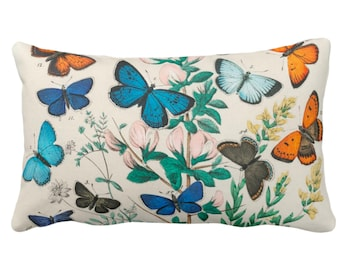 """OUTDOOR Vintage Butterflies Throw Pillow or Cover 14 x 20"""" Lumbar Pillows/Covers, Colorful Teal/Turquoise/Green Butterfly Floral Print"""