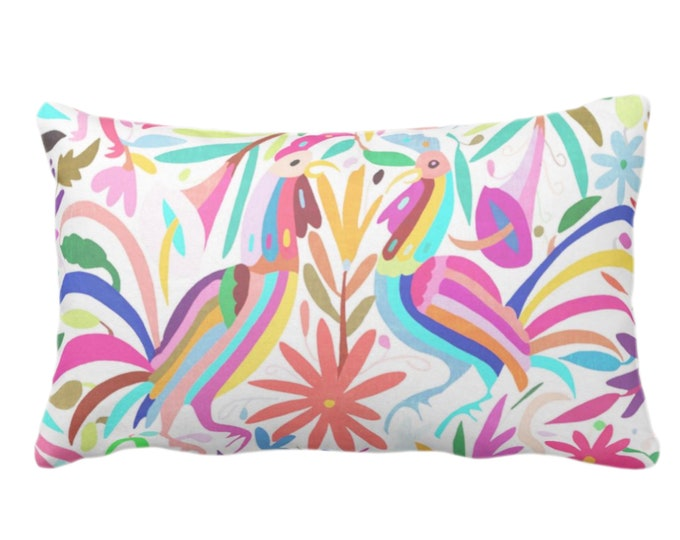 "OUTDOOR Colorful Pastels Otomi Throw Pillow or Cover, Printed 14 x 20"" Lumbar Pillows/Covers, Bright/Mexican/Boho/Bohemian/Floral Print"