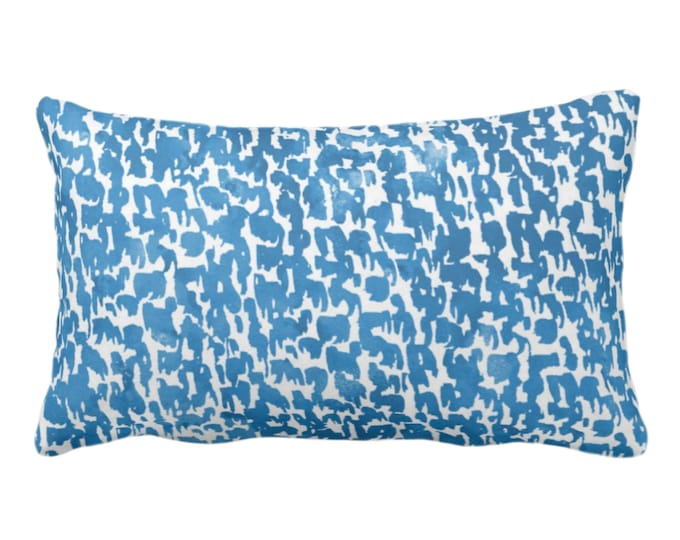 "OUTDOOR Indigo Speckled Print Throw Pillow or Cover 14 x 20"" Lumbar Pillows/Covers Bright Blue/White Abstract/Marbled/Spots/Dots/Dashes"
