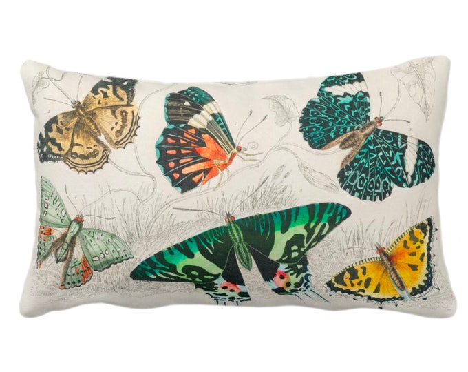 """Vintage Butterflies Throw Pillow or Cover 14 x 20"""" Sq Pillows/Covers, Colorful Teal/Orange/Yellow Butterfly Floral Botanical Print/Pattern"""