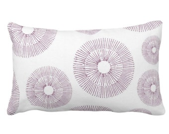 """Abstract Urchins Throw Pillow or Cover, Dusty Plum/White 14 x 20"""" Lumbar Pillows/Covers Dusty Purple Abstract/Geometric/Geo/Modern/Sea Print"""