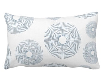 """OUTDOOR Abstract Urchins Print Throw Pillow or Cover, Lagoon/White 14 x 20"""" Lumbar Pillows/Covers, Blue/Green Geometric/Starburst/Sea Design"""