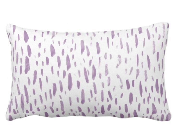 """Hand-Painted Dashes Throw Pillow or Cover, Lavender/White 14 x 20"""" Lumbar Pillows or Covers Modern Light Purple Dots/Dash/Splatter Print"""