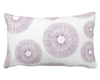 """OUTDOOR Abstract Urchins Print Throw Pillow or Cover, Dusty Plum/White 14 x 20"""" Lumbar Pillows/Covers, Purple Geometric/Geo/Starburst/Sea"""