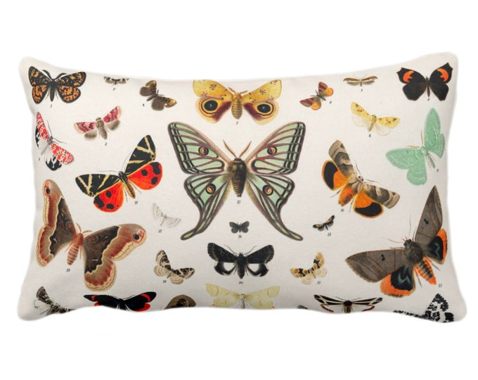 "Butterfly Illustration Throw Pillow/Cover 14 x 20"" Lumbar Pillows/Covers Colorful Orange/Green/Red/Yellow Butterflies Vintage Print/Pattern"