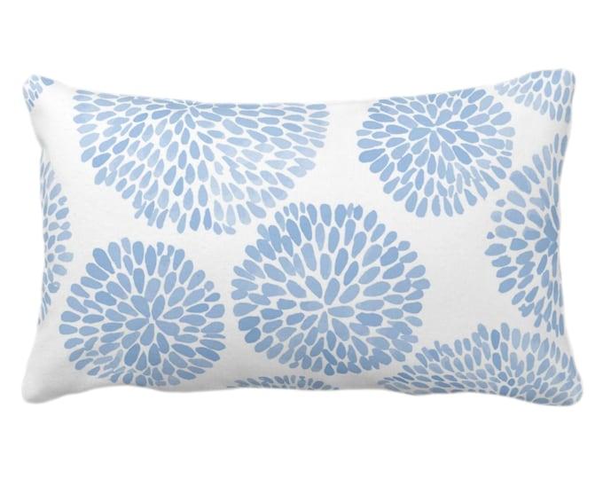"OUTDOOR Watercolor Chrysanthemum Throw Pillow/Cover Cornflower/White 14 x 20"" Lumbar Pillows/Covers Blue Abstract/Modern/Floral/Flower Print"