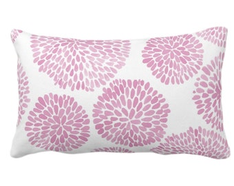 """OUTDOOR Watercolor Chrysanthemum Throw Pillow/Cover Pink Lemonade/White 14 x 20"""" Lumbar Pillows/Covers, Abstract/Modern/Floral/Flower Print"""
