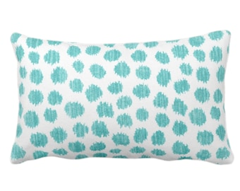 """Scratchy Dots Throw Pillow/Cover, Pacific/White 14 x 20"""" Lumbar Pillows/Covers Blue/Green Scribble/Dots/Spots/Circles/Dotted Print/Pattern"""