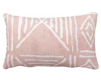 """OUTDOOR Mud Cloth Printed Throw Pillow or Cover, Faded Pink 14 x 20"""" Lumbar Pillows/Covers, Mudcloth/Boho/Tribal/Geometric/Geo Print/Pattern"""