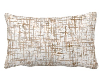 """OUTDOOR Crosshatch Throw Pillow or Cover, Beige/Sand Geometric Print 14 x 20"""" Lumbar Pillows/Covers, Abstract/Lines/Modern/Farmhouse Pattern"""