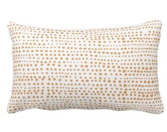 "OUTDOOR Dot Line Throw Pillow or Cover, Camel/White Print 14 x 20"" Lumbar Pillows/Covers, Dots/Lines/Geometric/Modern/Farmhouse/Minimal"