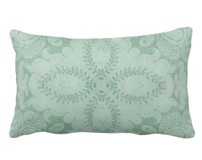 """OUTDOOR - READY 2 SHIP -  Nouveau Damask Throw Pillow Cover Only, Celadon Green 14 x 20"""" Lumbar Dusty Mint, Floral/Boho/Tribal Pattern"""