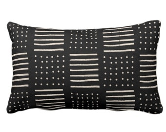 """OUTDOOR Mud Cloth Printed Pillow or Cover, Black/Off-White 14 x 20"""" Lumbar Throw Pillows/Covers Mudcloth Dots/Lines Boho/Tribal/African"""