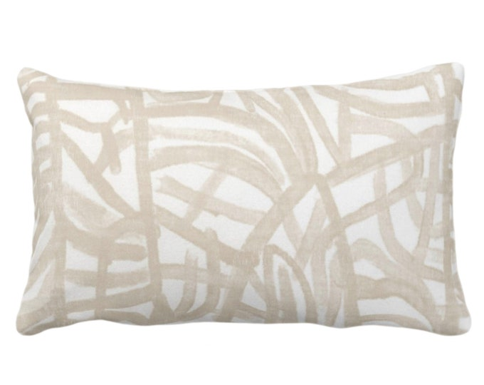 """OUTDOOR Avant Throw Pillow or Cover, White/Muted Beige 14 x 20"""" Lumbar Pillows/Covers Print Off-White Art Abstract Modern/Geometric/Lines"""