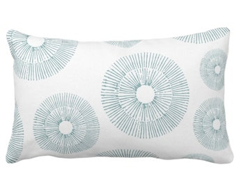 """Abstract Urchins Throw Pillow or Cover, Lagoon/White 14 x 20"""" Lumbar Pillows/Covers, Dusty Blue/Green Abstract/Geometric/Geo/Modern/Sea"""
