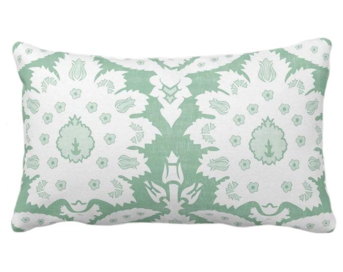 "Sofia Damask Print Throw Pillow/Cover, Celedon 14 x 20"" Lumbar Pillows/Covers, Light Green Floral/Ikat/Boho/Tribal/Farmhouse Pattern/Design"