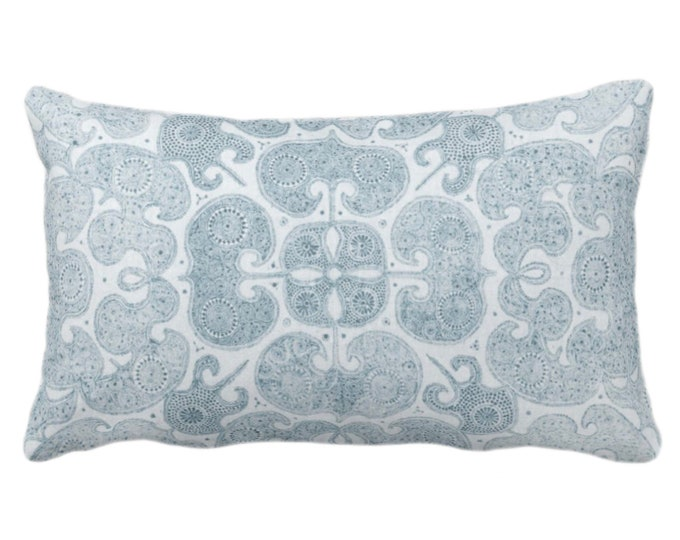 "Batik Print Throw Pillow or Cover, Dusty Sea 14 x 20"" Lumbar Pillows or Covers, Light Blue/Green Floral/Geo/Boho/Tribal/Hmong/Pattern Design"