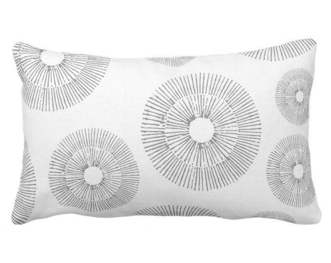 """Abstract Urchins Throw Pillow or Cover, Gray/White 14 x 20"""" Lumbar Pillows/Covers, Light Grey Abstract/Geometric/Geo/Modern/Sea Print"""