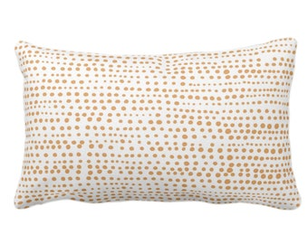"""Dot Line Throw Pillow or Cover, Camel/White Print 14 x 20"""" Lumbar Pillows/Covers, Dots/Lines/Geometric/Abstract/Modern/Farmhouse/Minimal"""