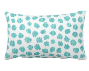 """OUTDOOR Scratchy Dots Throw Pillow/Cover, Pacific/White 14 x 20"""" Lumbar Pillows/Covers Blue/Green Scribble/Dots/Spots/Dotted Print/Pattern"""