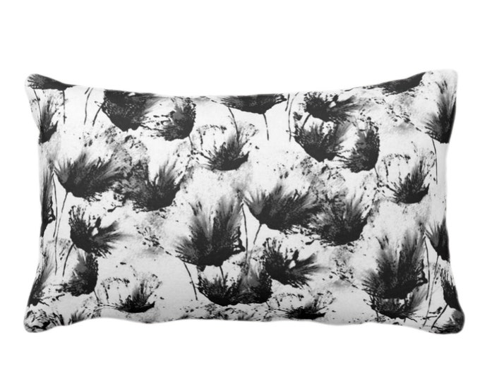 """OUTDOOR Flower Bursts Throw Pillow or Cover, Black & White 14 x 20"""" Lumbar Pillows or Covers, Floral/Flowers/Modern/Abstract Print/Pattern"""