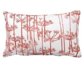 """OUTDOOR Allium Throw Pillow or Cover, Red Clay/White Print 14 x 20"""" Lumbar Pillows/Covers, Modern Botanical/Leaves/Nature/Farmhouse Pattern"""
