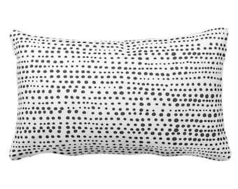 "OUTDOOR Dot Line Throw Pillow or Cover, Black/White Print 14 x 20"" Lumbar Pillows/Covers, Dots/Lines/Geometric/Geo/Modern/Farmhouse/Minimal"