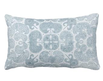 "OUTDOOR Batik Print Throw Pillow or Cover, Dusty Sea 14 x 20"" Lumbar Pillows/Covers, Light Blue/Green Floral/Geo/Boho/Tribal/Hmong/Pattern"