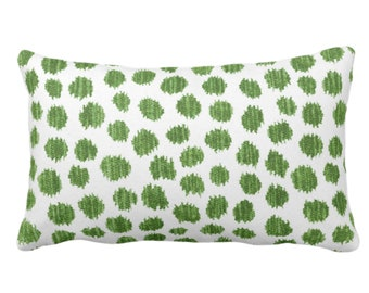"""Scratchy Dots Throw Pillow or Cover, Olive/White 14 x 20"""" Lumbar Pillows/Covers Dark Green Scribble/Dots/Spots/Circles/Dotted Print/Pattern"""
