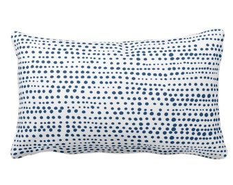 """Dot Line Throw Pillow or Cover, Navy Blue/White Print 14 x 20"""" Lumbar Pillows/Covers, Dots/Lines/Geometric/Abstract/Modern/Farmhouse/Minimal"""