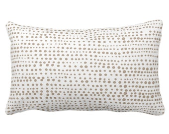 "OUTDOOR Dot Line Throw Pillow or Cover, Taupe/White Print 14 x 20"" Lumbar Pillows/Covers, Dots/Lines/Geometric/Modern/Farmhouse/Minimal"