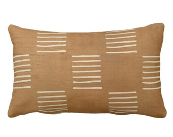 """OUTDOOR Mud Cloth Printed Throw Pillow or Cover, Lines Brown/Beige 14 x 20"""" Lumbar Pillows/Covers, Mudcloth/Boho/Tribal/Geometric/Geo Print"""