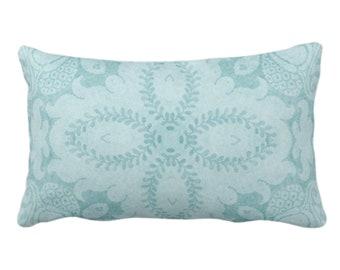 "OUTDOOR Nouveau Damask Throw Pillow/Cover, Calm Blue 14 x 20"" Lumbar/Oblong Pillows/Covers Dusty Blue/Green Floral/Batik/Boho/Tribal Pattern"