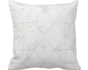 "Fine Line Geo Print Throw Pillow or Cover 14, 16, 18, 20 or 26"" Sq Pillows/Covers Taupe, Beige/Gray Tribal Geometric/Abstract/Lines/Diamond"