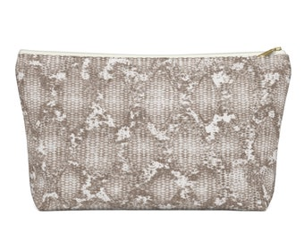 Taupe Snakeskin Print Zippered Pouch, Animal Printed Design, Cosmetics/Pencil/Make-Up Organizer/Bag, Stone/Beige Snake/Reptile Pattern