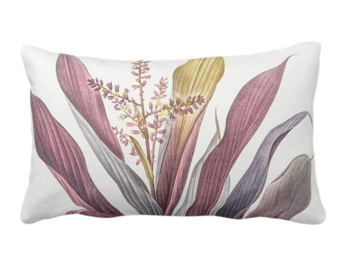 """Vintage Botanical Purple Bromeliad Throw Pillow or Cover, 14 x 20"""" Lumbar Pillows/Covers, Tropical Nature/Plants/Greenery/Floral Print"""