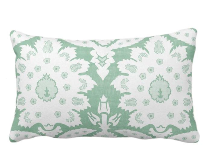 "OUTDOOR Sofia Damask Print Throw Pillow/Cover, Celedon 14 x 20"" Lumbar Pillows/Covers, Light Green Floral/Ikat/Boho/Tribal/Farmhouse Pattern"